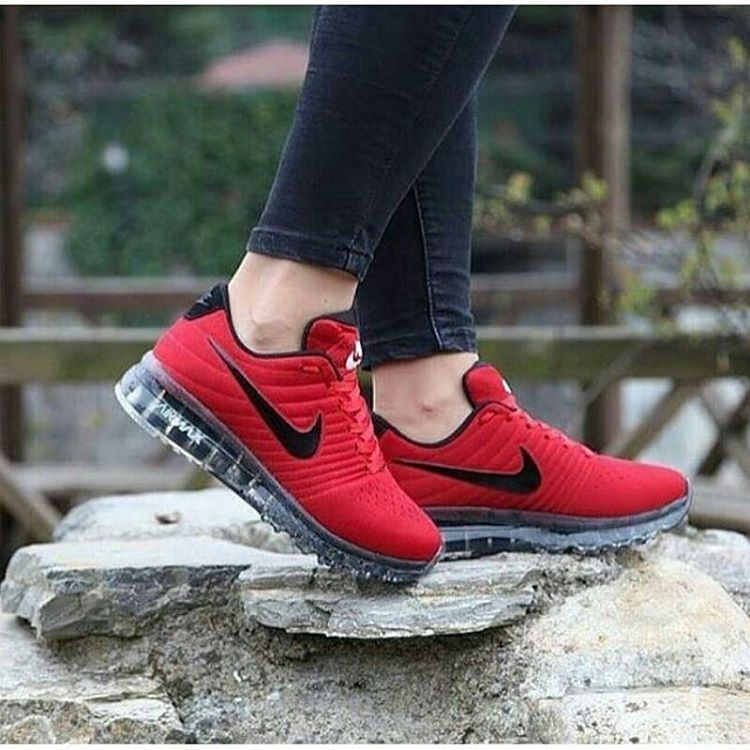 nike air max 2015 unisex spor ayakkabı red\/black zip cord