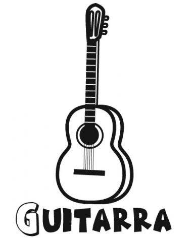Dibujo de guitarra. Imágenes de música para colorear | manualidades ...