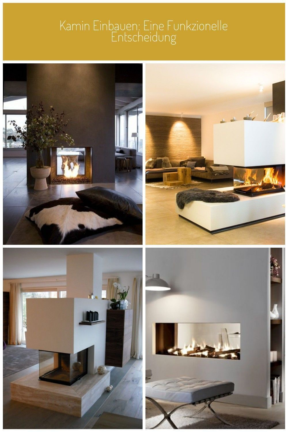 Bio ethanol fireplace as a room divider and two pillows on the floor room