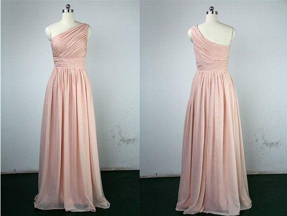 Blush Pink One Shoulder Bridesmaids Dress Chiffon Long Bridesaids Dresses Cheap Bridesmaids Dress Prom Dress