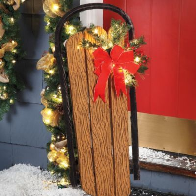 Lighted Holiday Sled Log Cabin Decorating Design Ideas ~ Lodge