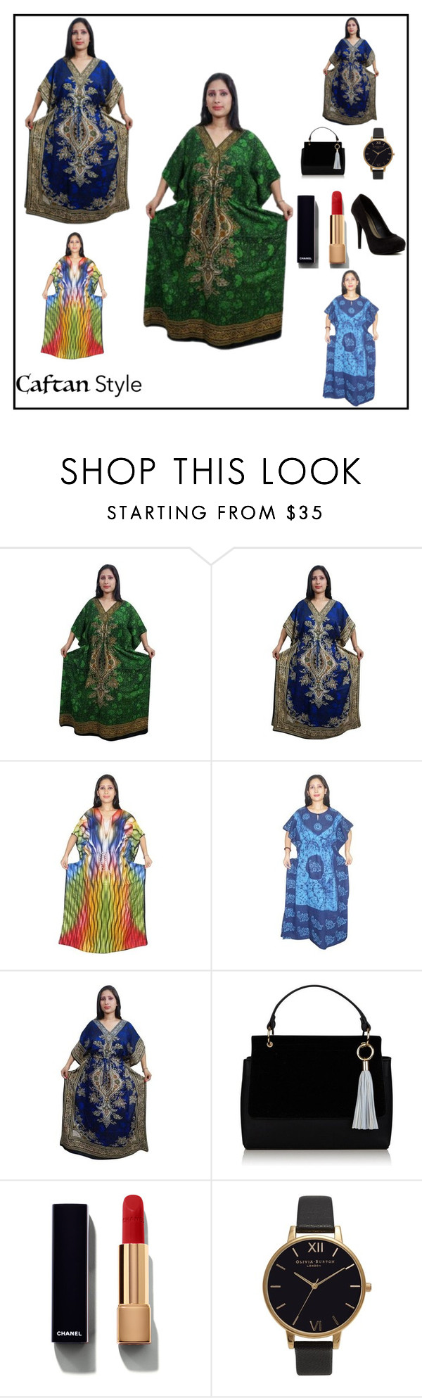 """""""COVER UP WESTERN KAFTAN DRESS"""" by lavanyas-trendzs ❤ liked on Polyvore featuring Chanel, Olivia Burton and Michael Antonio"""