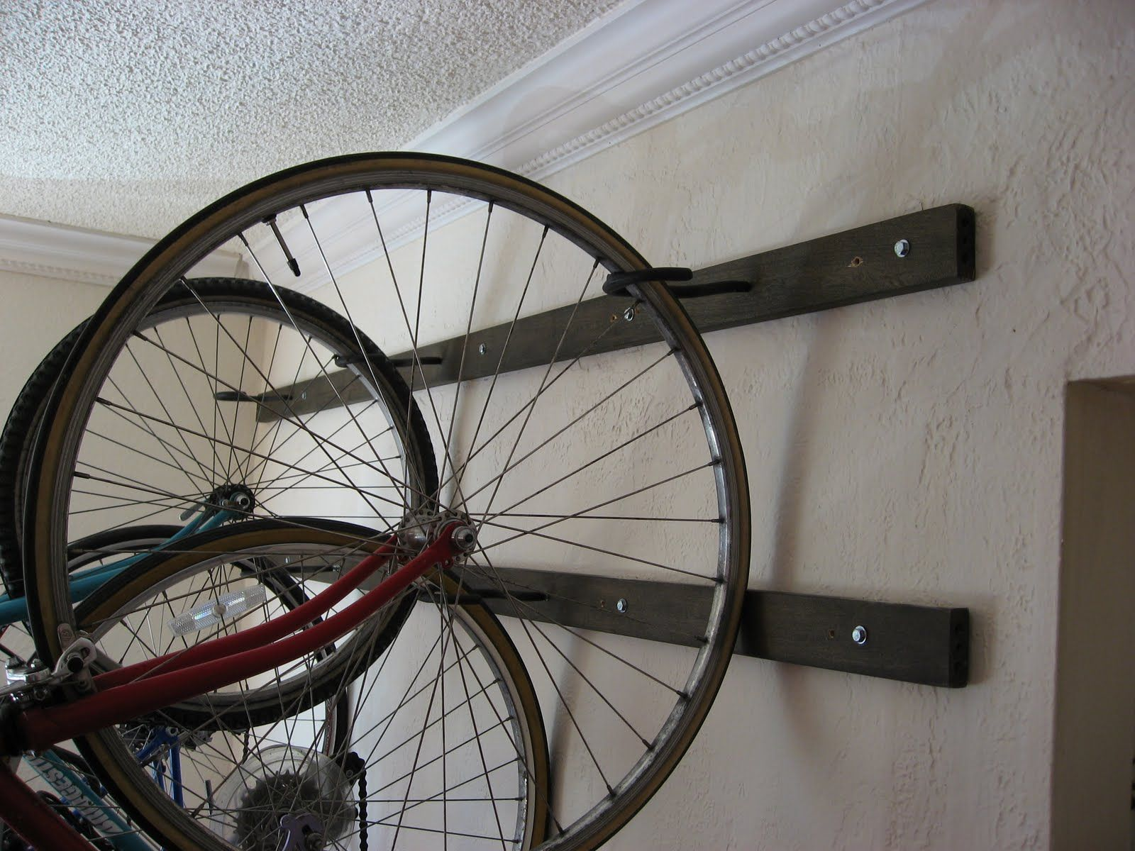 Girl On Bike Post 100 My Brand New Homemade Wall Hanging Bike Rack Hanging Bike Rack Bike Rack Wall Bike Rack