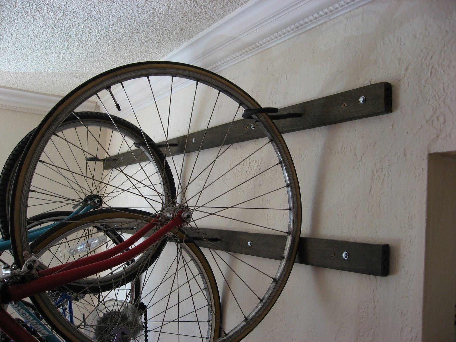 Girl On Bike Post 100 My Brand New Homemade Wall Hanging Bike Rack Hanging Bike Rack Bike Rack Wall Bike Rack
