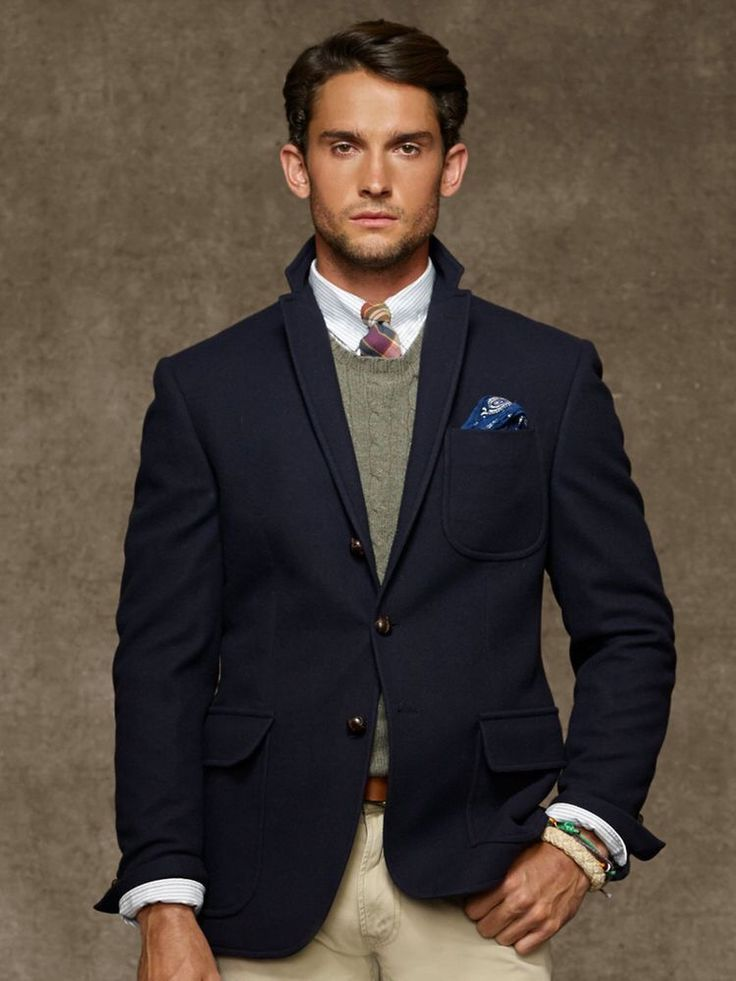 sharp navy blazer with tan pants outfit Mens casual