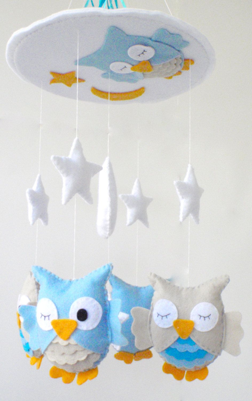 Baby Crib Mobile Nursery Turquoise And Beige Owl Sleeping Owls 90 00 Via Etsy