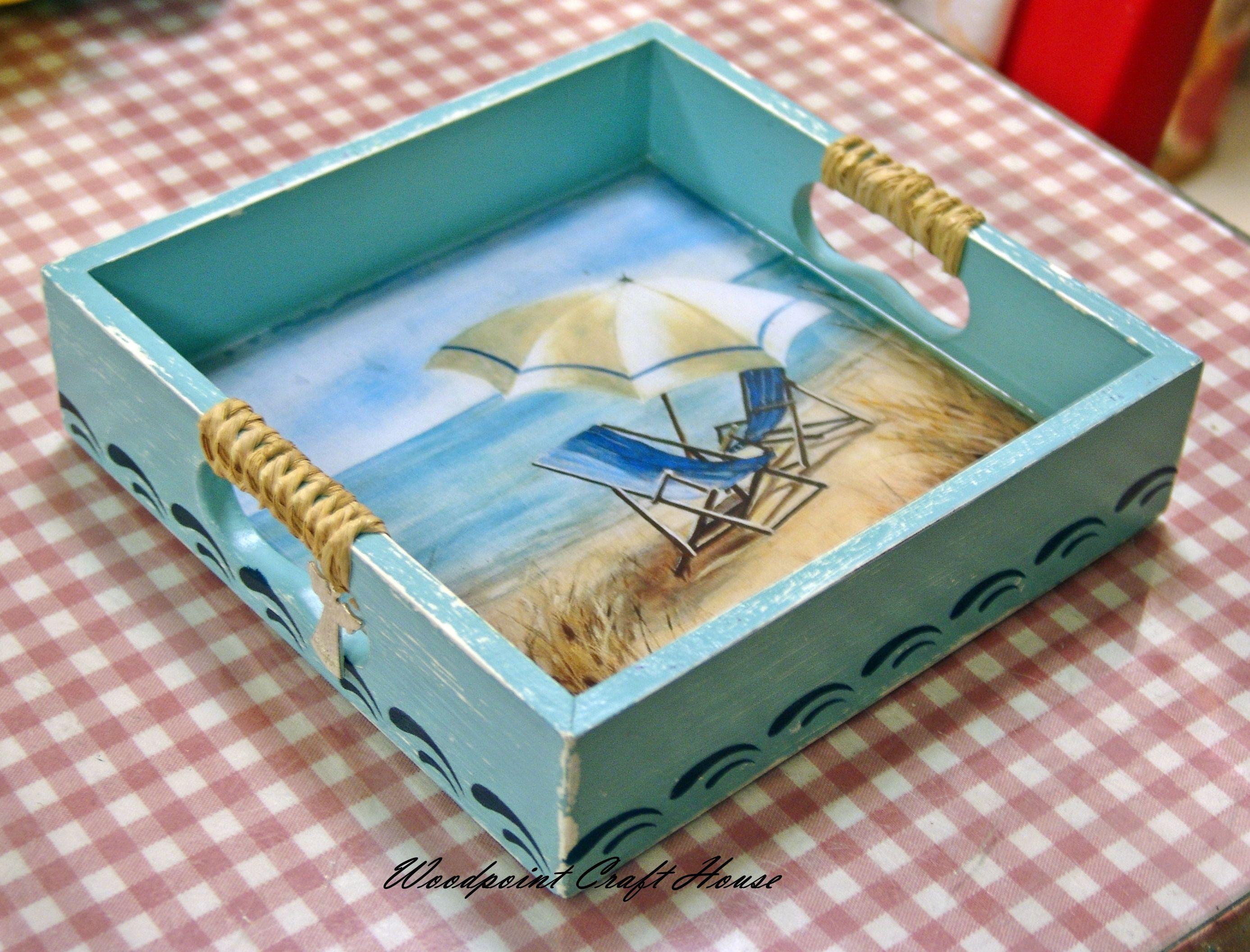 Servilletero o bandeja con fondo marinero decoupage - Cajas de madera decorativas ...
