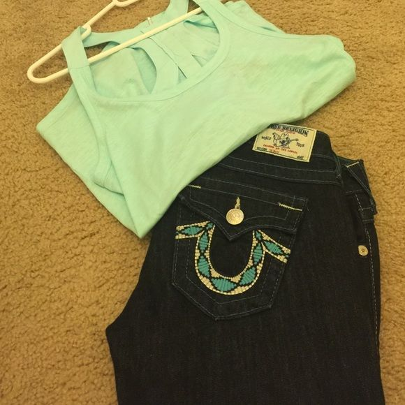 True Religion Turquoise Sticked Skinny Jean **HOT** True Religion skinny jeans. Never worn and in excellent condition!! Any questions please ask. True Religion Jeans Skinny