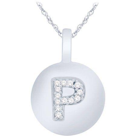 Diamond Accent 14kt White Gold Initial W Alphabet Letter Pendant, 18 inch Chain