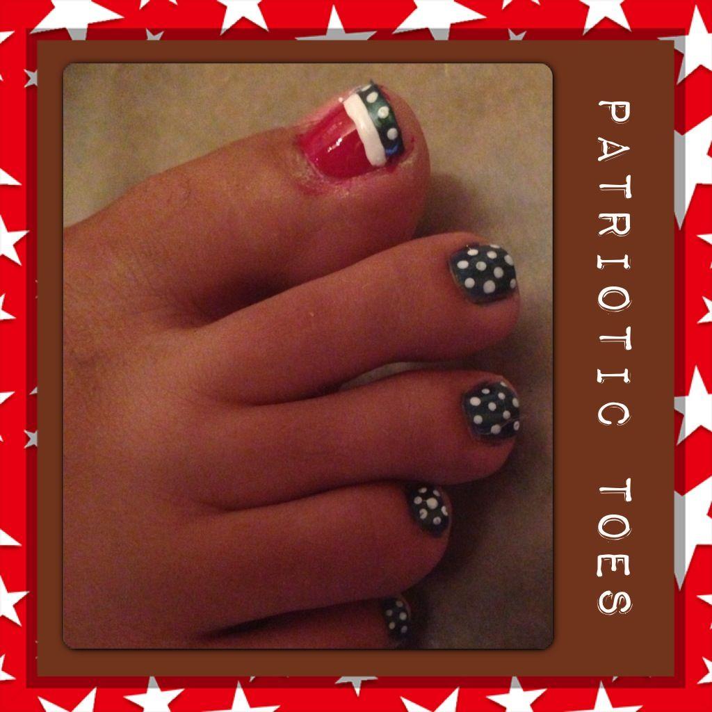 My sister painted my toes. Love my patriotic nails! Thx Dee Dee ...