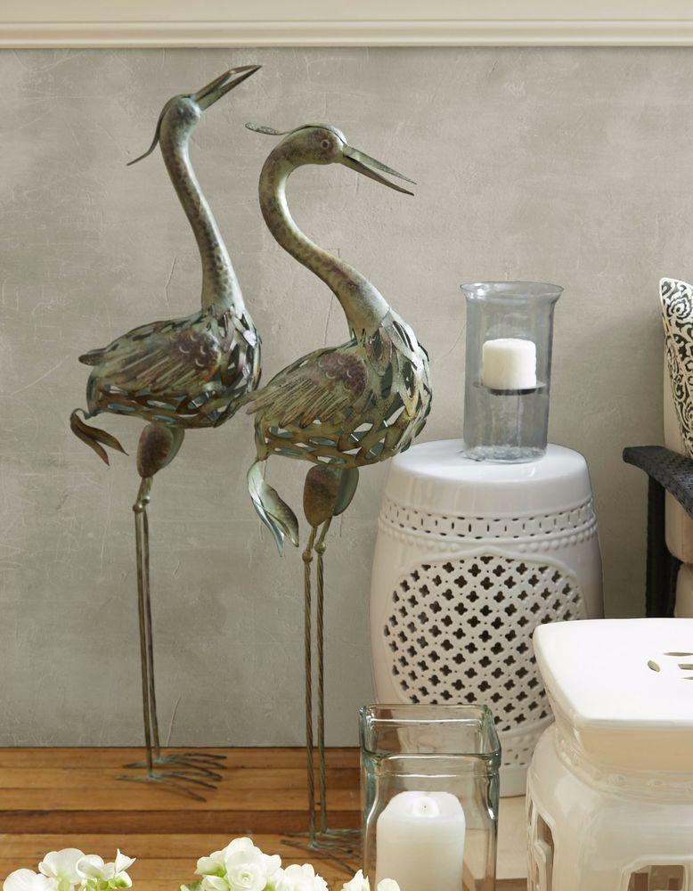 Coastal Yard Art Heron Pair Crane Statues Garden Sculptures Landscape Decor  2 PC #WIC
