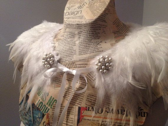 White feather collar with ribbon ties and by GlitterCowboyCapes