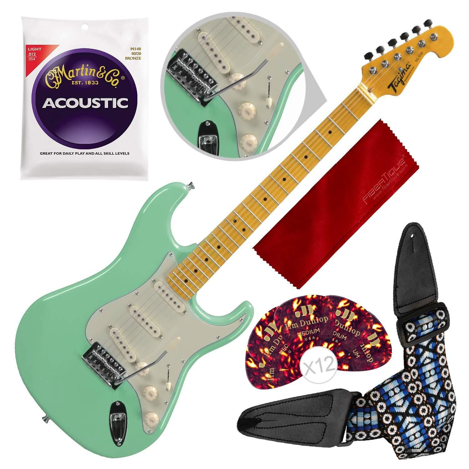 Tagima Tg530 Sg Woodstock Series Strat Style Electric Guitar Surf Green With Guitar Strap And Accessory Bundle Electric Guitar Guitar Guitar Strap