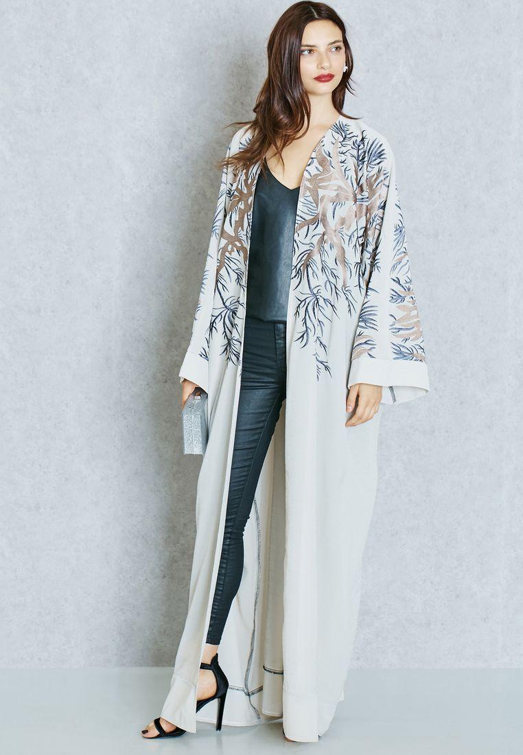 Shop beige embroidered shoulder abaya from hayas closet