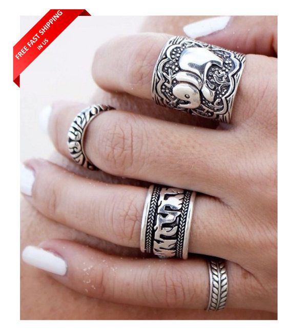 Boho Silver Rings - Bohemian Vintage Silver Plated Ring Set - Silver Tibet Elephant Totem Ring - Vintage Carving Gypsy Silver Ring- Set of 4