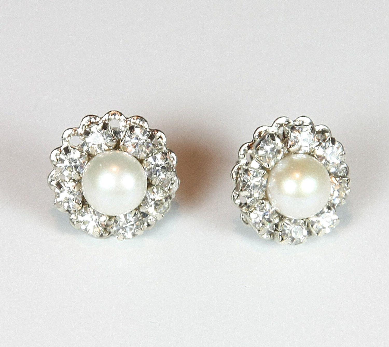 Bridal Pearl Earrings Rhinestone Earrings Vintage Earrings Wedding
