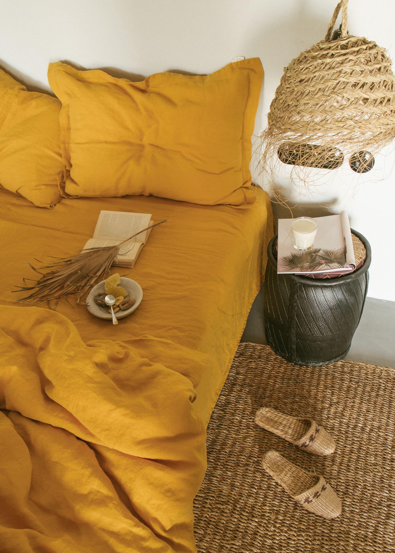 Linen duvet cover + pillow shams in Mustard color