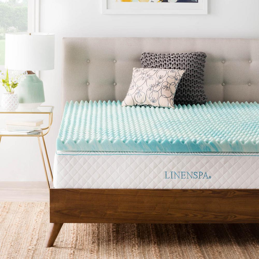 Linenspa 3 In Queen Gel Memory Foam Mattress Topper Blue