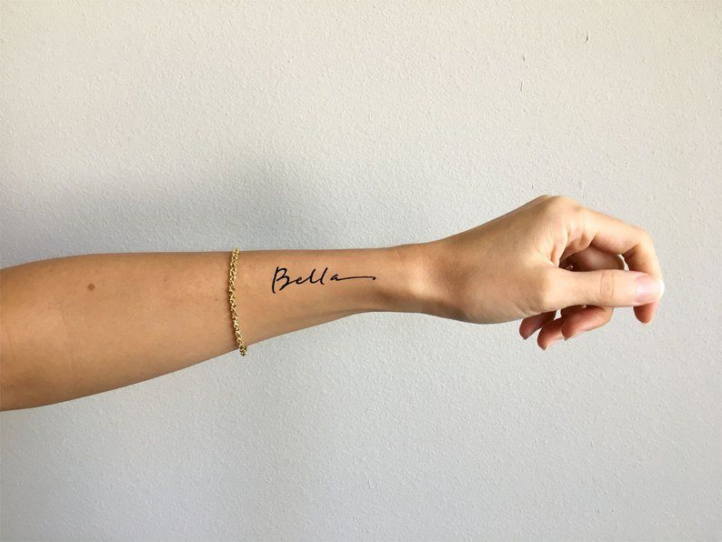 Bella Pretty Font Wrist Tattoo Design By Pasadya Etsy In 2020 Forearm Tattoo Women Side Wrist Tattoos Name Tattoos On Wrist