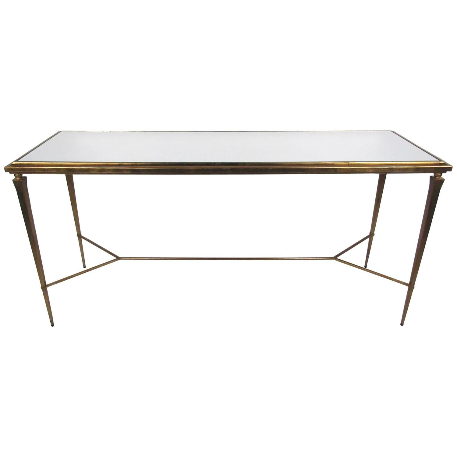 mid century gold leaf style mirrored console table furniture rh pinterest com