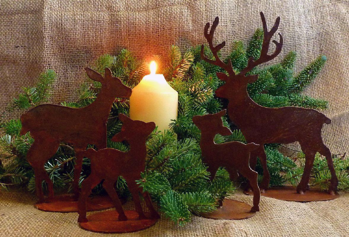 details zu waldszene waldtiere hirsch reh kitz figuren edelrost herbstdeko weihnachten xmas. Black Bedroom Furniture Sets. Home Design Ideas