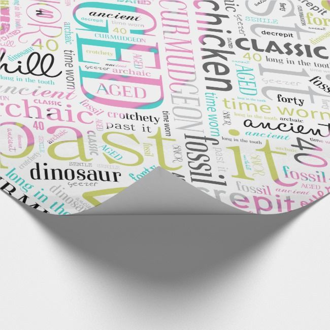 Word Cloud Forty Pink ID266 Wrapping Paper |  Birthday Word Cloud Forty Pink ID266 Wrapping PaperBirthday Word Cloud Forty Pink ID266 Wrapping Paper