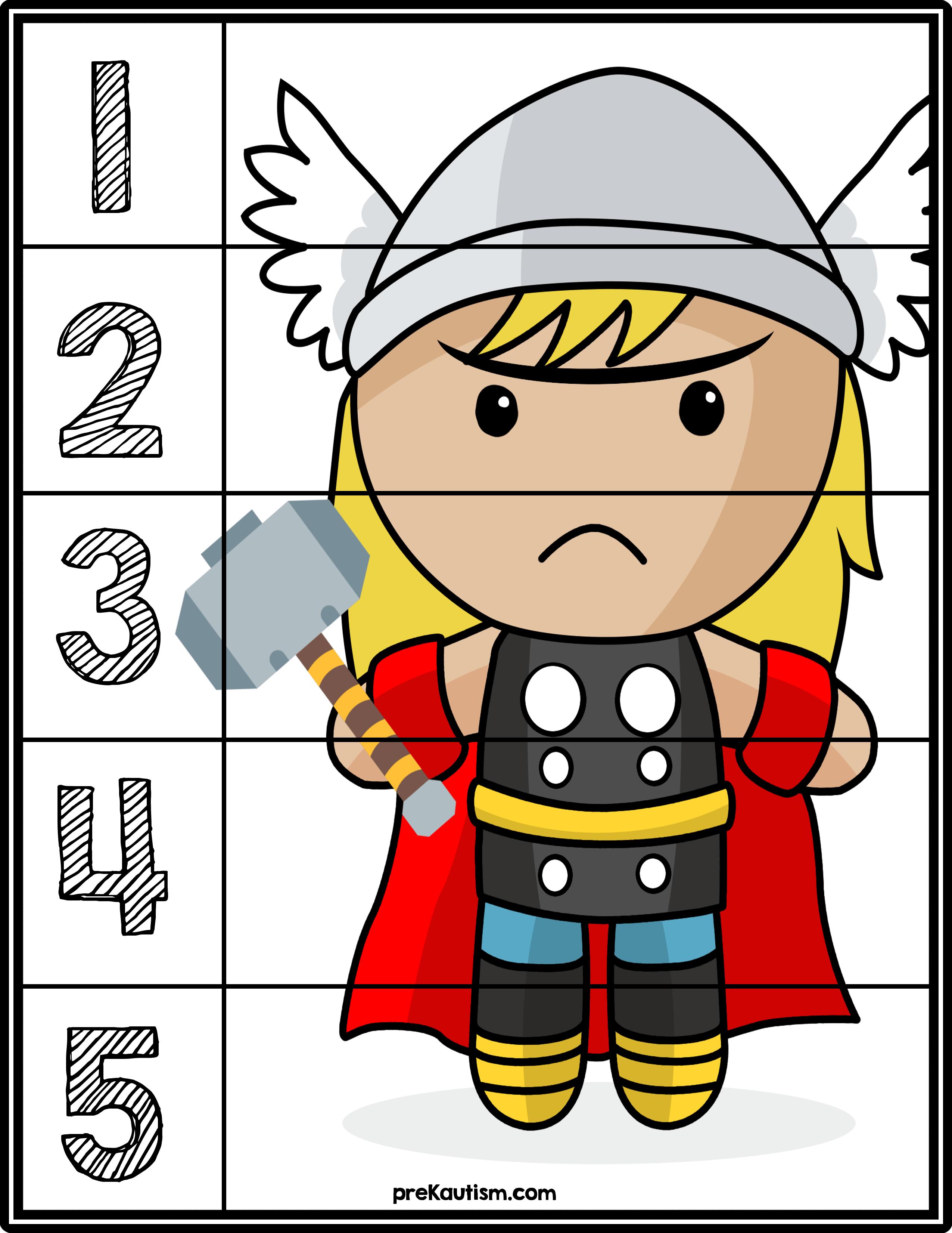 Predownload: Free Superhero Number Puzzles Superhero Theme Preschool Activities Number Puzzles [ 3300 x 2550 Pixel ]
