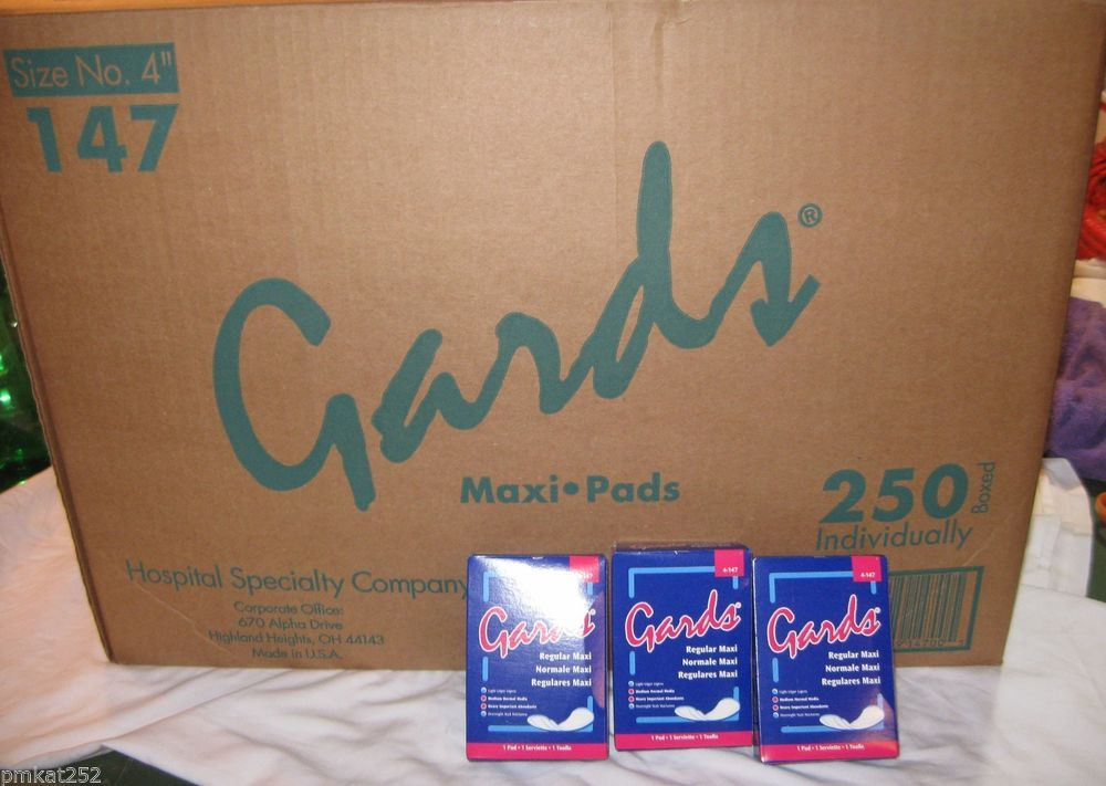 CASE OF 250 GARDS MAXI PADS Individually Boxed Maxi Pads