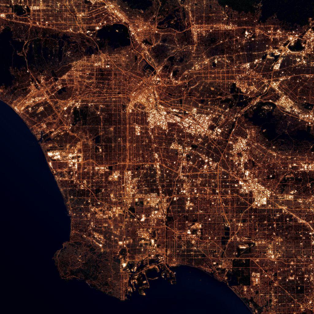 Los Angeles California At Night City Prints Night City City Prints Satellite Art