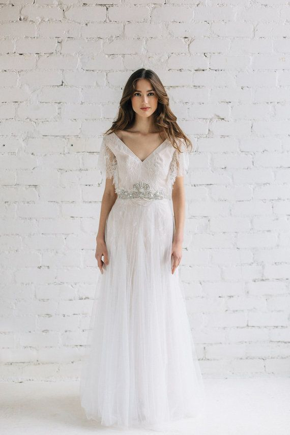 b237317cb879 Lace Wedding Dress - Eva Sweet and comfortable boho inspired wedding dress  created of soft ivory french lace with scalloped edge wide draped sleeves .