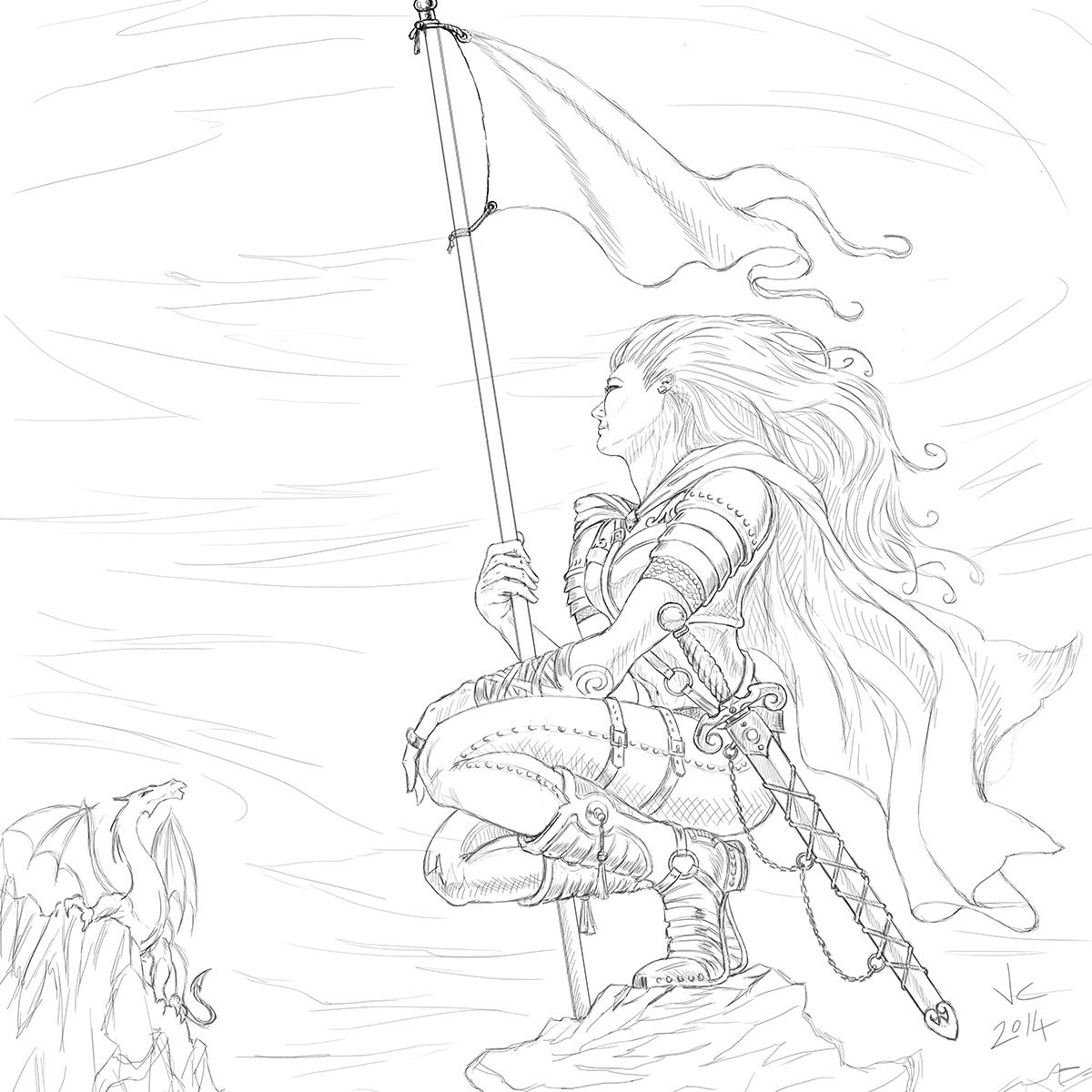 Warrior Woman Pencil Drawing Warrior