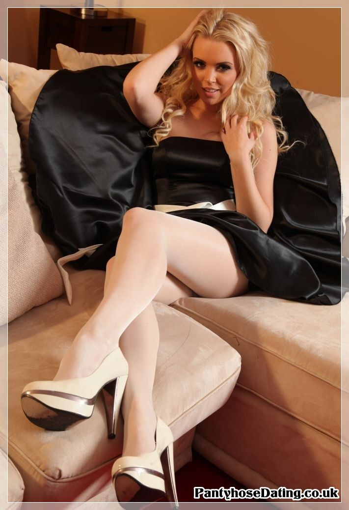 Blond in white pantyhose