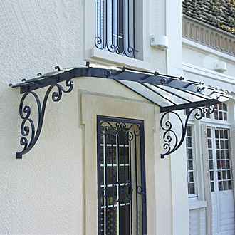 Marquise Fer Forgé Classique Façade Arrondie MA Reignoux - Marquise de porte ancienne