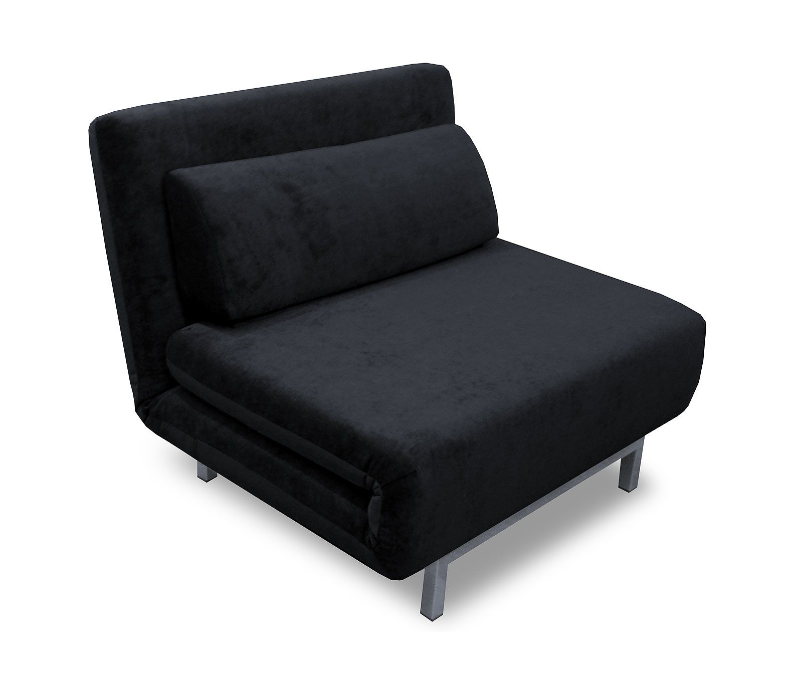 Trendy Black Fabric Chair Bed Without Arm And Chrome Finished Leg
