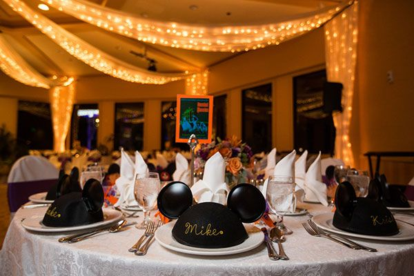 We wish we would have scored an invite to this fun Disneyland Hotel wedding featuring Mickey Mouse ears hats for each guest.