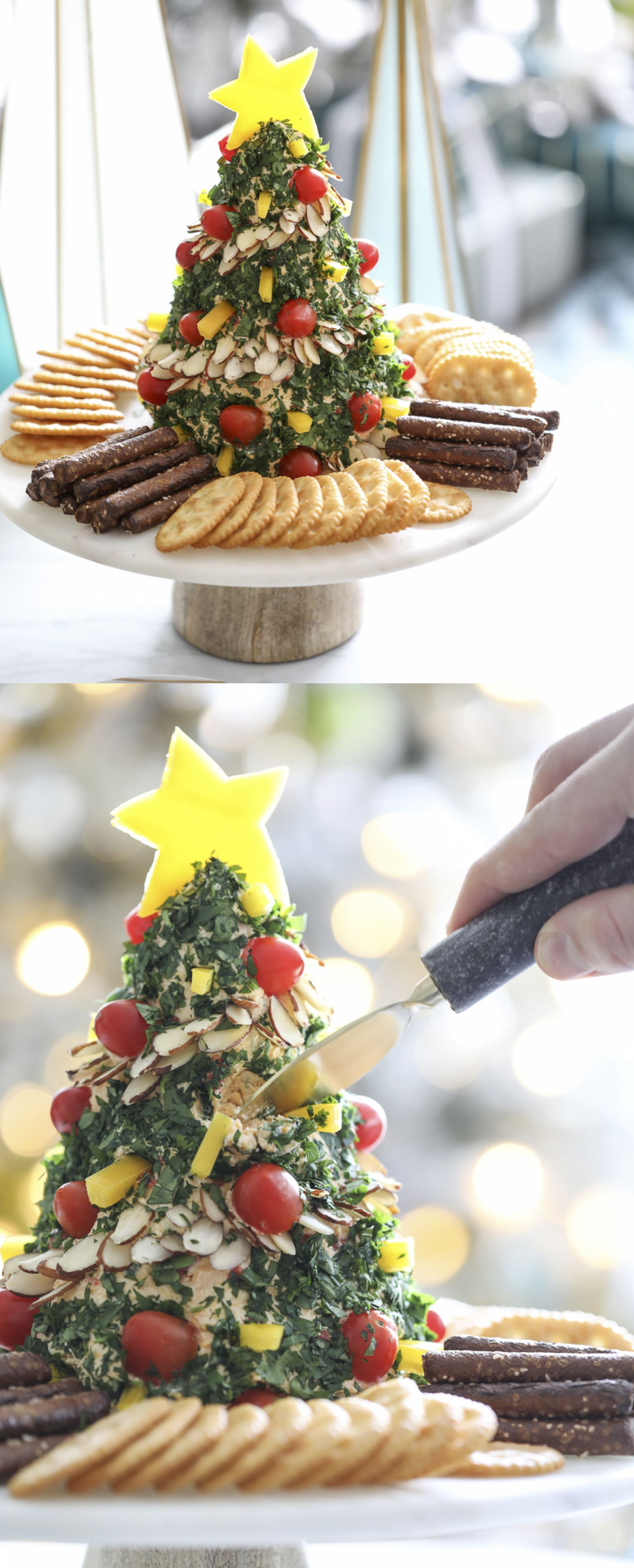 Holiday appetizer recipe - Christmas Tree Cheese Ball #christmas #appetizer #cheeseball