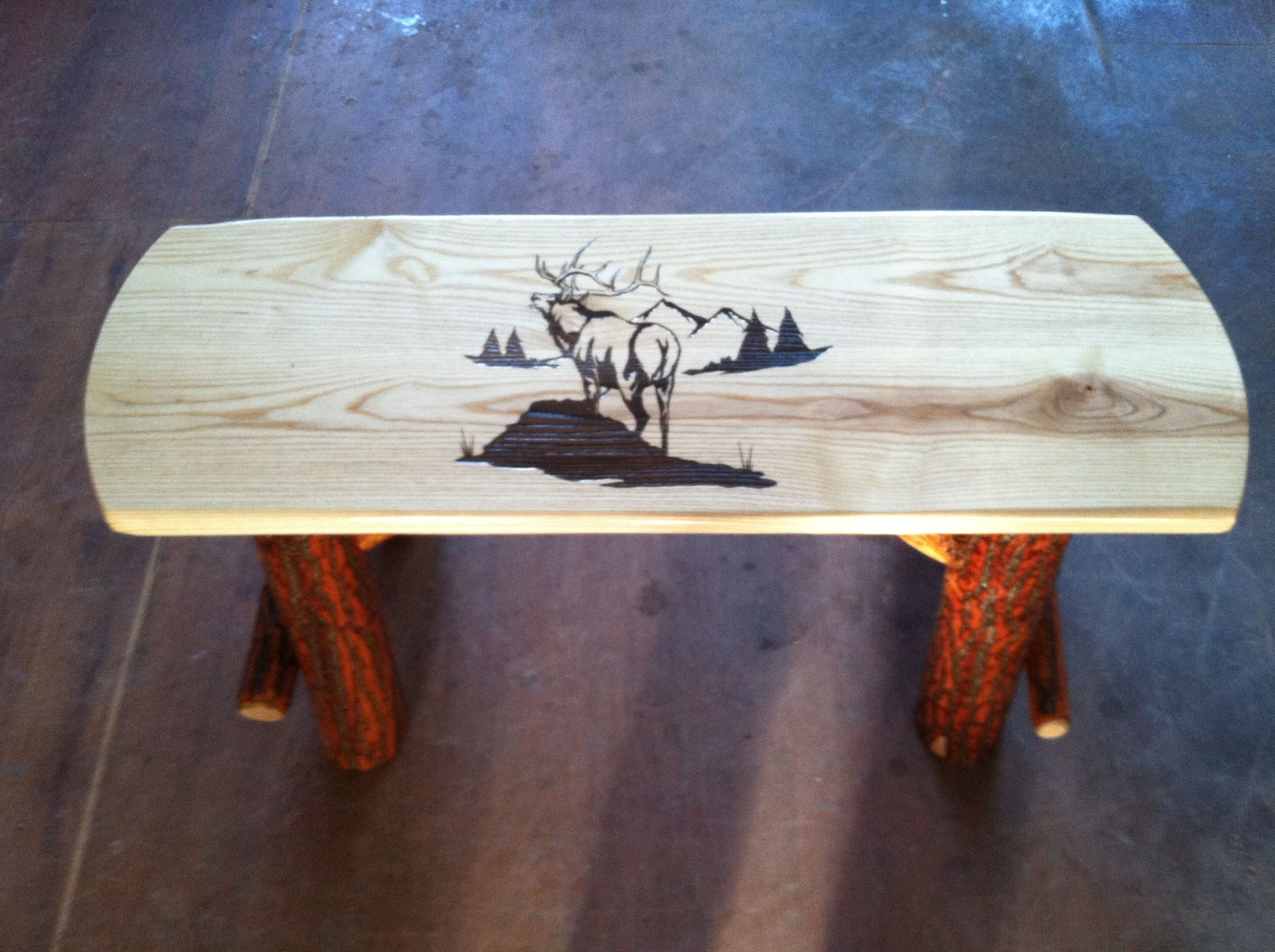 Amish made rustic sassafras log park bench Bark on rustic finish