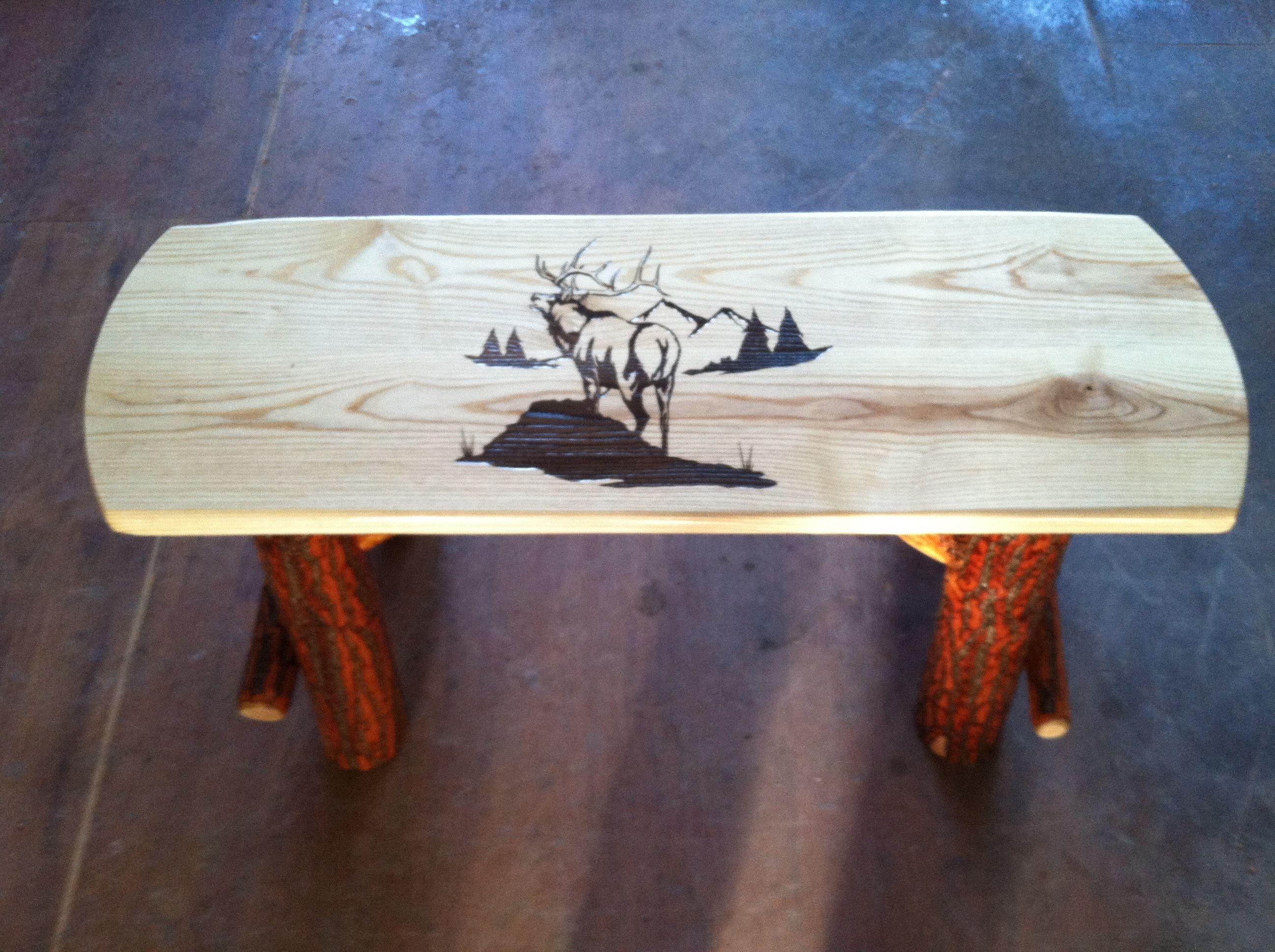 Amish made rustic sassafras log park bench Bark on rustic finish