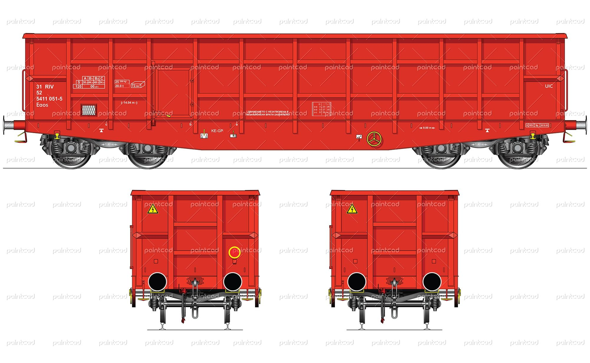 Vector illustration of red freight wagon type Eaos - ordinary open high-sided wagon for