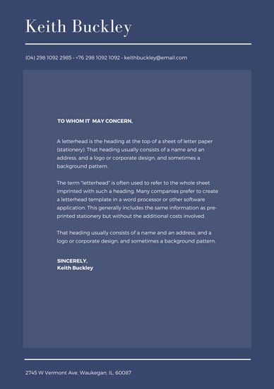 Dark Blue And White Personal Letterhead  Personal Brand
