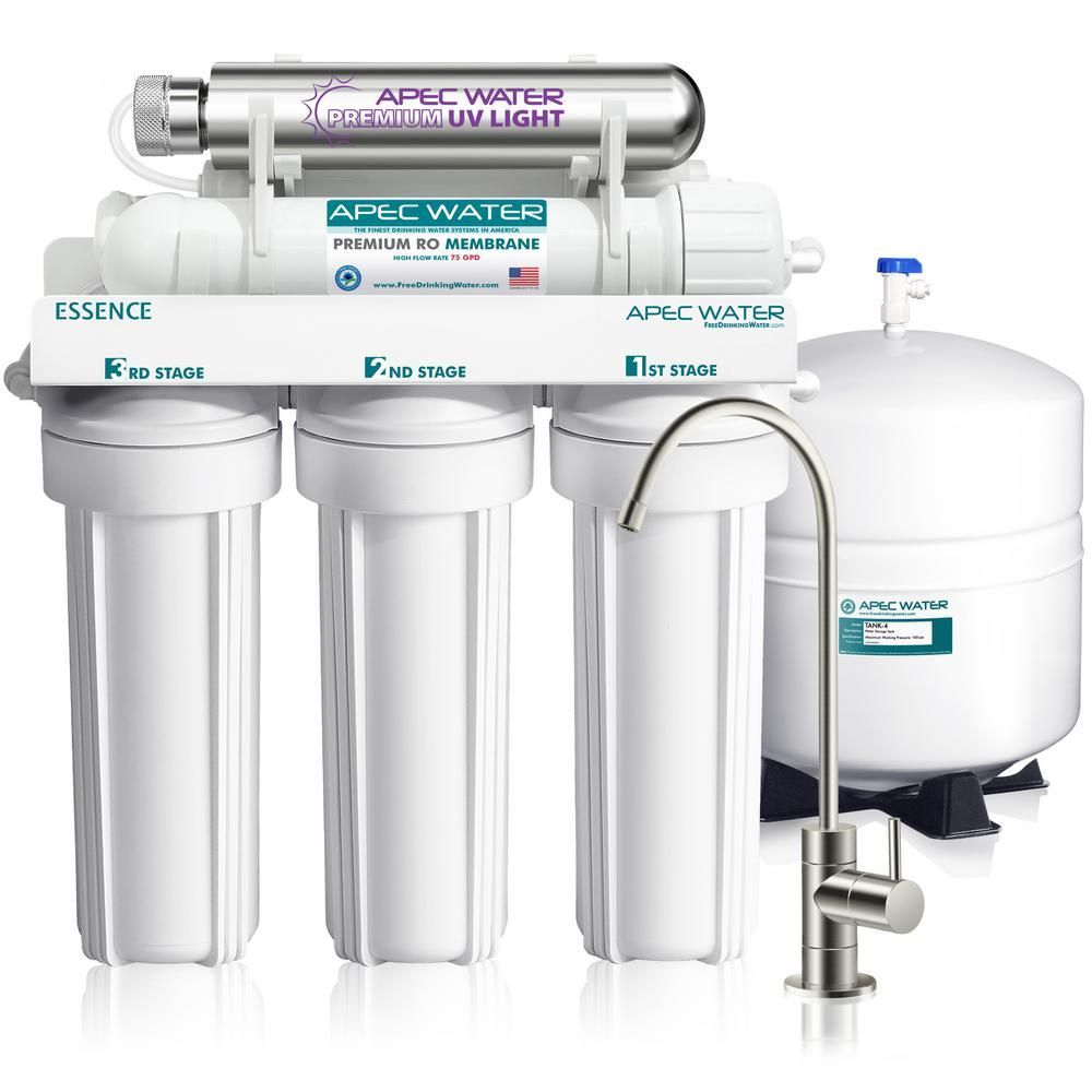 Apec Water Systems Essence Under Counter Reverse Osmosis Uv Disinfecting 75 Gpd 6 Stage Drinking Water Filtration System Roes Uv75 The Home Depot In 2020 Drinking Water Filter Water Purification System Reverse Osmosis Water