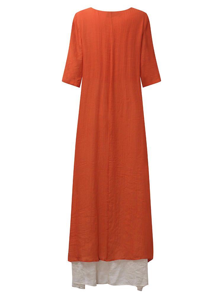 4dda2e227df7b Plus Size Vintage Women Loose Splicing Long Dress in 2019