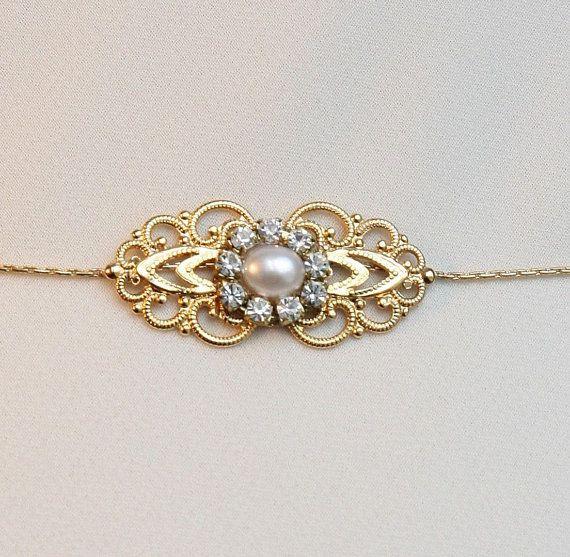 Unique Wedding Dress Sashes Belts: Gold Bridal Belt Sash Rhinestone Crystal Pearls Victorian