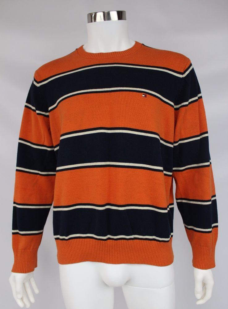 Tommy Hilfiger Mens Size Large Orange Blue Striped Crewneck Cotton Sweater #TommyHilfiger #Crewneck