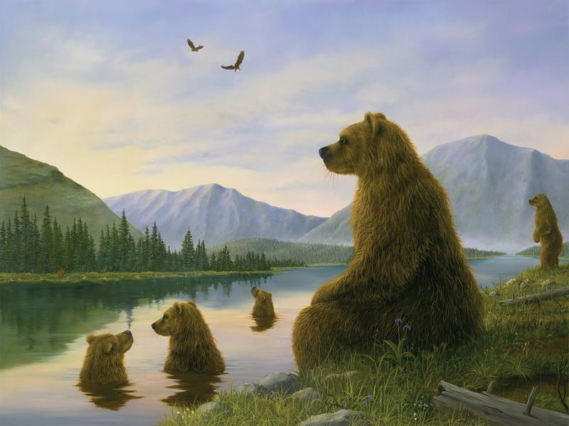 Robert Bissell Bathers At Dusk 2007 Bear Art Fine Art