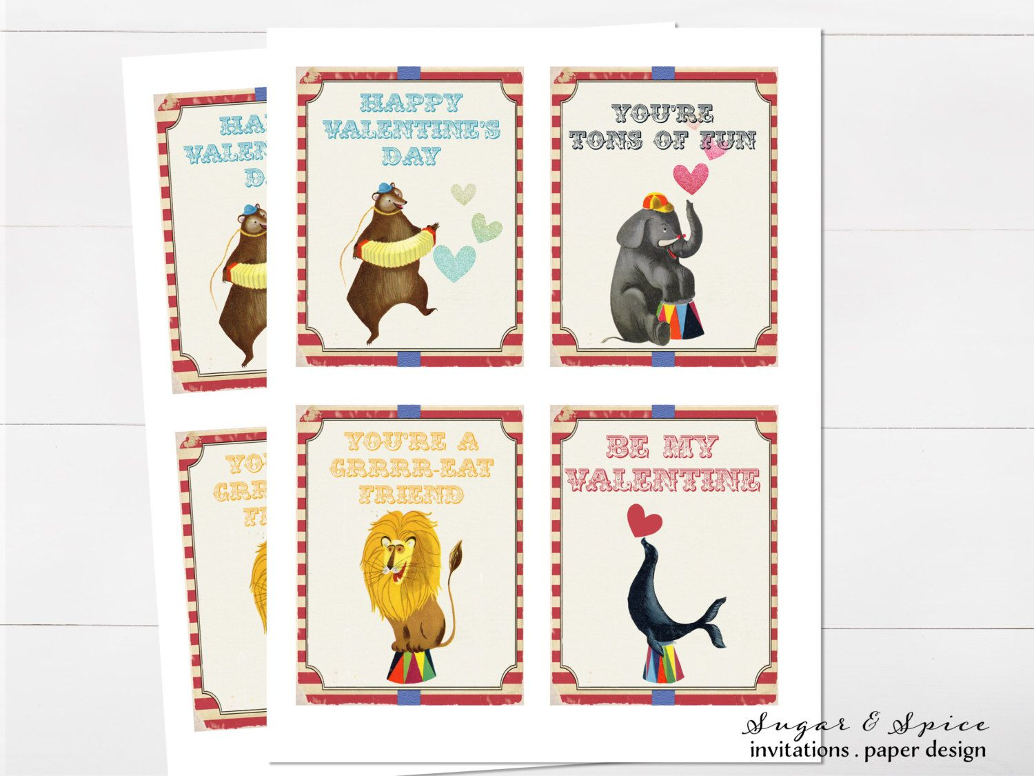 kids valentine cards printable valentine card kids circus valentines day cards big top - Etsy Valentines Day Cards