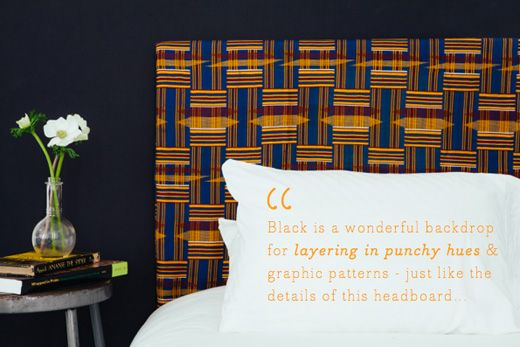 This headboard is made with vintage kente from Ghana which is on our itinerary. Check out Project Bly on Bright Bazaar!