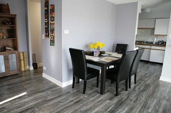 flooring for dining room. minimalist dining room with grey laminate flooring for