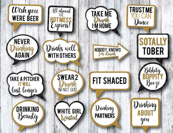 PDF Instant Digital Download 50 Fun Printable Bachelorette Party Props Hen Party Props Funny DIY Photo Booth Speech Bubbles /& Props