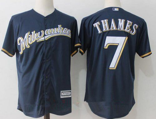 e0a4c7abf Men s Milwaukee Brewers  7 Eric Thames Navy Blue Milwaukee Stitched MLB Majestic  Cool Base Jersey